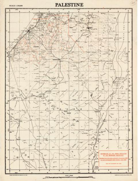 סקר בריטי של מפת פלסטין משנת 1947 מסמן את פיזור האוהלים הבדואיים בנגב (כל אוהל הוא נקודה אדומה)