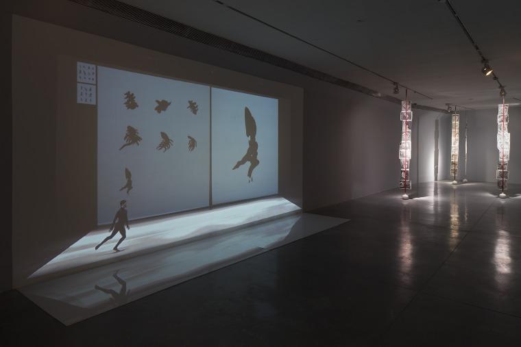 ״ببليوغرافيا״. منظر تنصيب. ماري تشوينار (فيديو) نوغا عنبار (عنبار). متحف بيتح تكفا للفنون. 2016، تصوير: العاد سريغ