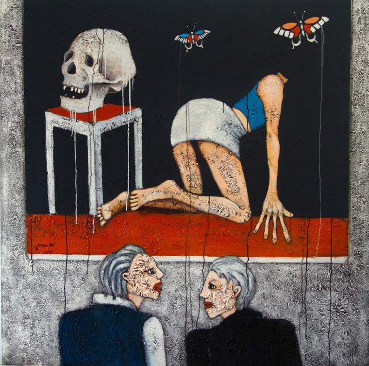 يوسف وهبون، الجمجمة، المركز الثقافي الفرنسي، الرباط، 2019  كتالوغ من تصوير سيسيل  لاروش كوانيي.