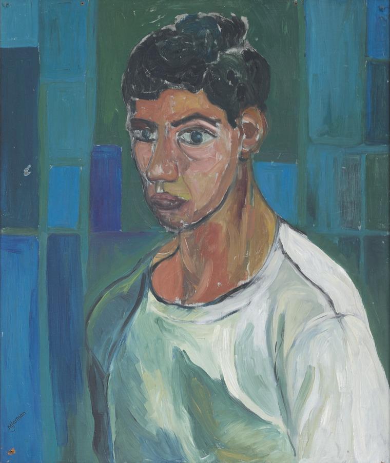 """דרק ג'רמן, דיוקן עצמי, 1959, שמן על בד, 76X65 ס""""מ, באדיבות המוזיאון לאמנות מודרנית, אירלנד (IMMA)"""