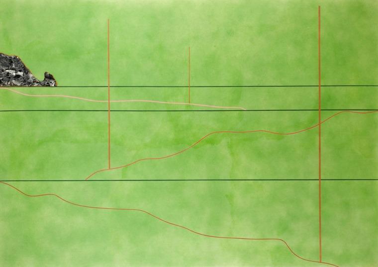 """דרק ג'רמן, נוף עם הר מרבל (הר השיש), 1967, אקריליק וקולאז' על בד, 206X144 ס""""מ, המוזיאונים והגלריה לאמנות של נורת'המפטון"""