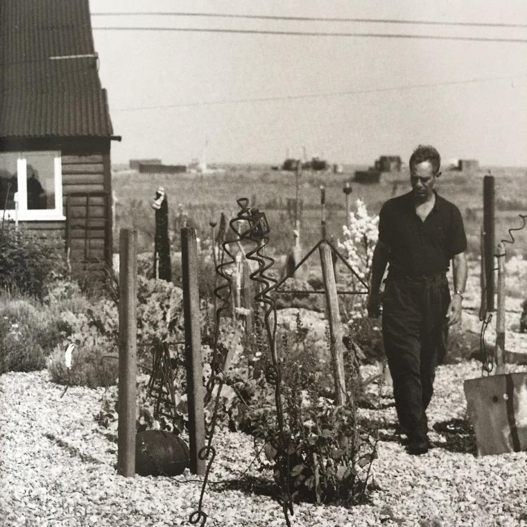 דרק ג'רמן בגינה בביתו בדנג'נס, צילום: הווארד סוליי