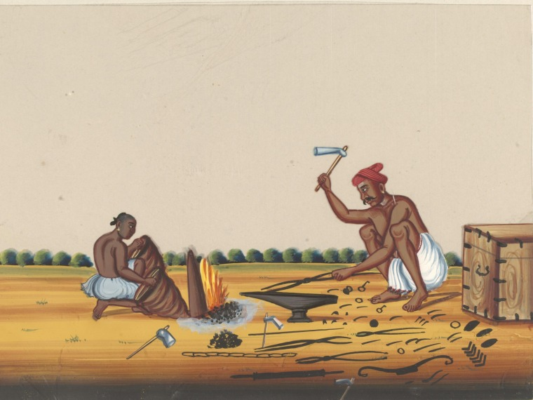 Artist unknown, One of eleven paintings of occupations ca. 1870. Trichinopoly, India (made)