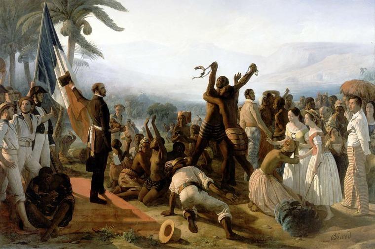 """פרנסואה-אוגוסט ביאר. הכרזה על ביטול העבדות במושבות הצרפתיות, 27 באפריל 1848   שמן על בד. 392 X 260 ס""""מ. ארמון ורסאי, ורסאי, צרפת ברשות הציבור"""