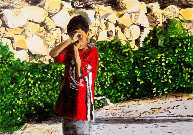 David Reed, Boy with a camera, acrylic on canvas, 2009