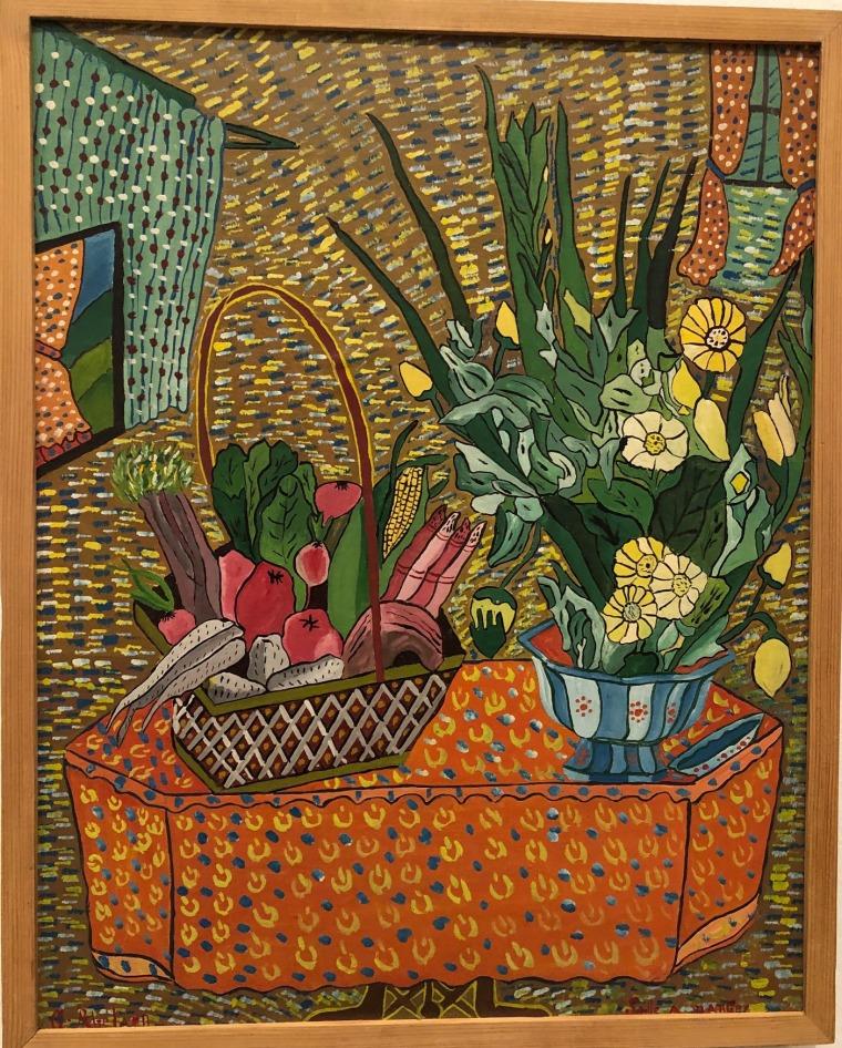 """גסנר אבלר, חדר אוכל, 1949, שמן על קרטון העבודה מוצגת בתערוכה """"שאגאל, פיקאסו, מונדריאן ואחרים: אמנים מהגרים בפריז"""", במוזיאון סטדליק באמסטרדם. צילום: מאט הנסן"""