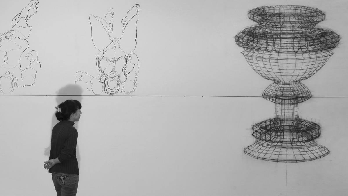 תמר גטר, גביעים וגוויות, 2010, אבקת מתכת ופחם על כותנה-פוליאסטר (צילום: אבי חי)