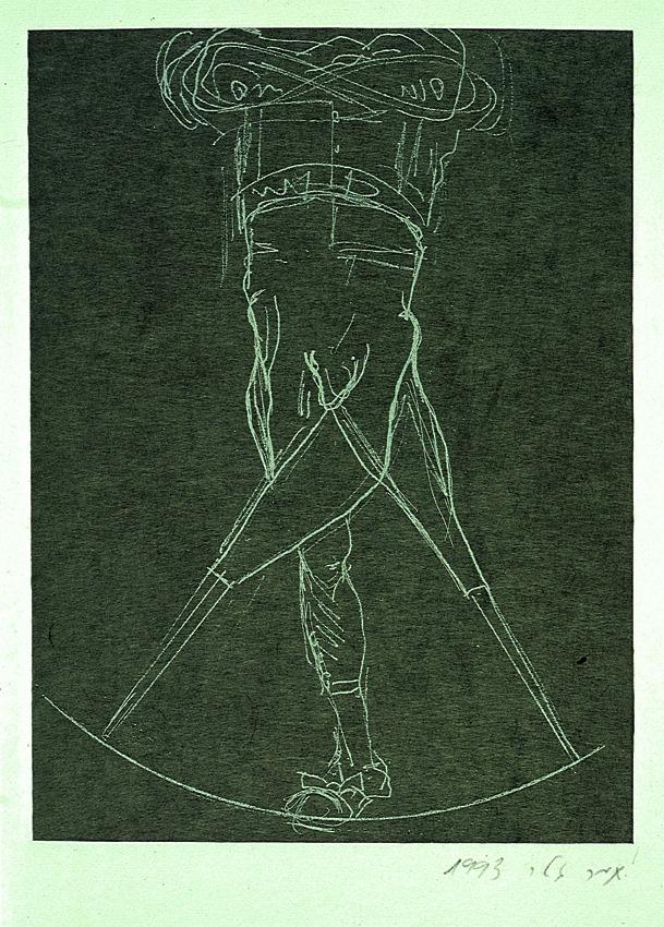 תמר גטר, קפיטן עם שלוש רגליים, 1997, תחריט, ספר אמן, דפוס ג'יקוב סמיואל, סנטה מוניקה
