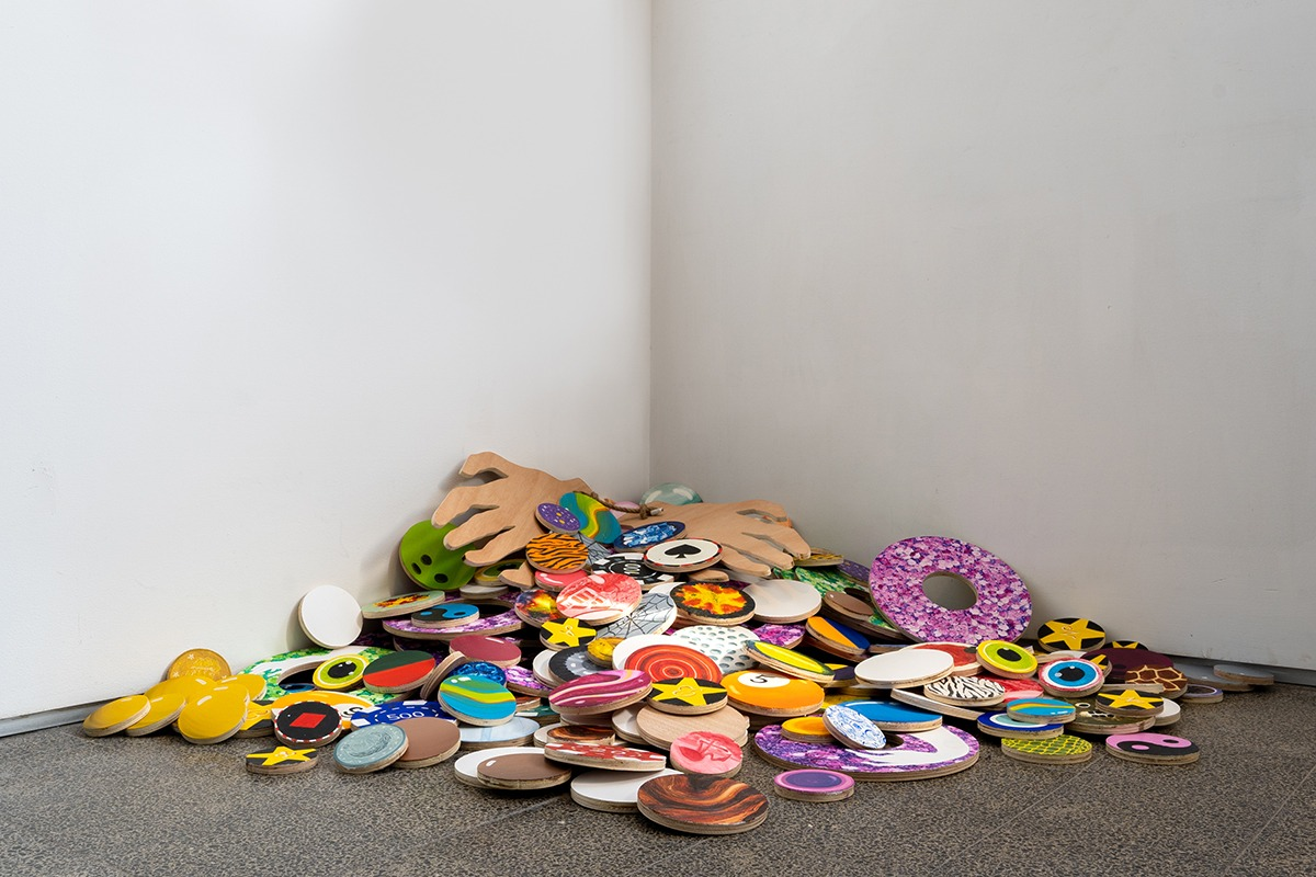 Double or Nothing (the Gambler), 2020, oil paint, jute rope and plywood, variable dimensions. Photograph: Daniel Hanoch