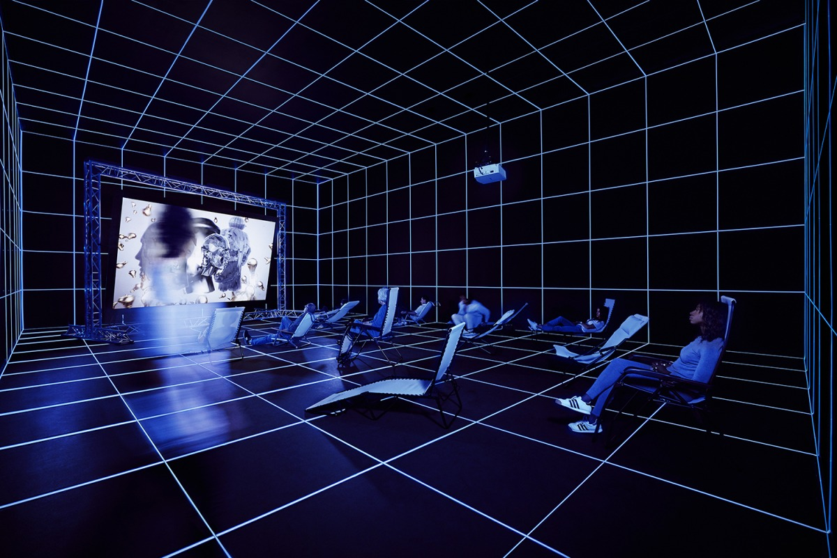 Hito Steyerl (b. 1966), Factory of the Sun, 2015. High-definition video, color, sound; 22:56 min., looped; with environment, dimensions variable. Installation view: Invisible Adversaries, Hessel Museum of Art, Bard College, Annandale-on-Hudson, New York,