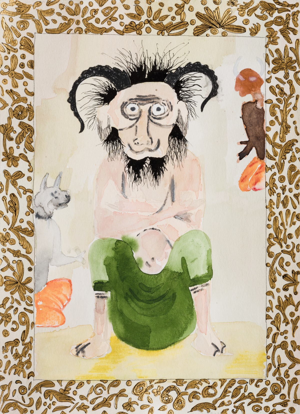 אלהם רוקני, Iblis I, 2017, טכניקה מעורבת על נייר, מתוך הספר ״סיפורי עם מאריתראה וסודן״