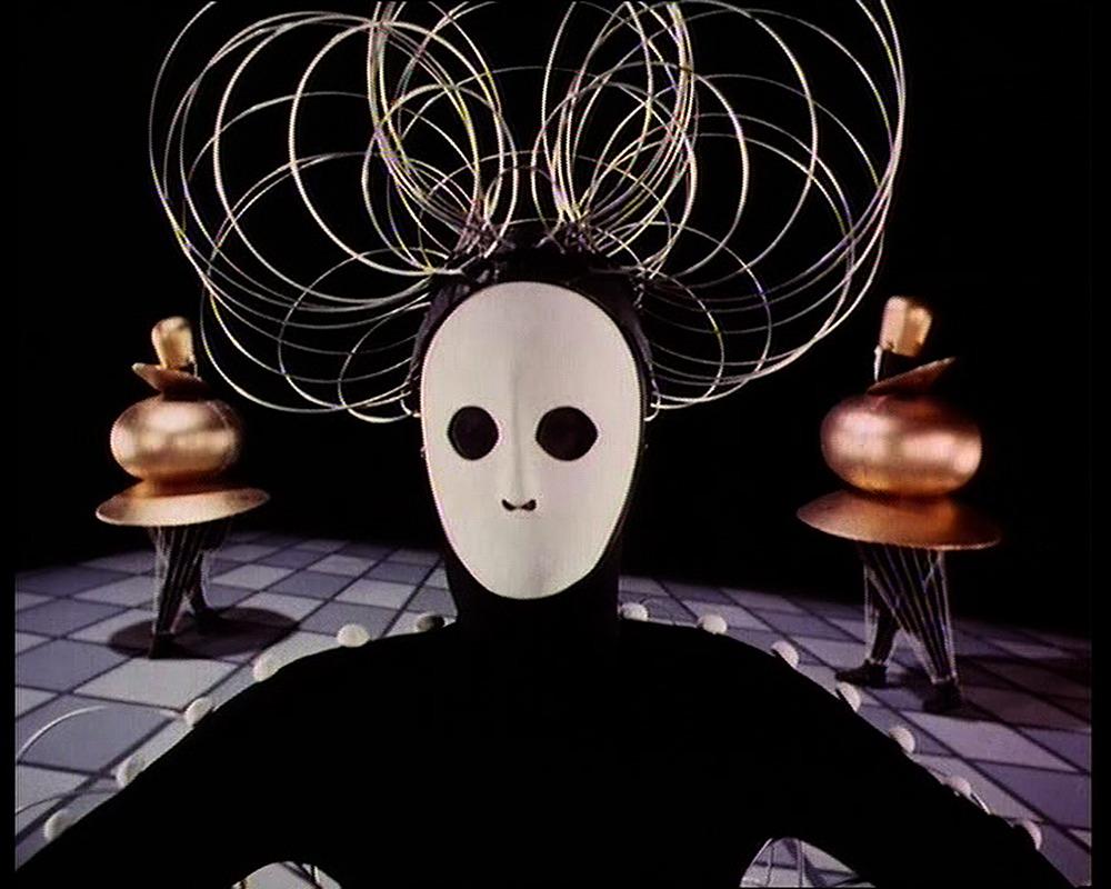 After Oskar Schlemmer (1888–1943) Das Triadische Ballett [Triadic Ballet], 1970 35mm film transferred to video, color, sound; 29 min.  Courtesy Global Screen, Munich Produced by Bavaria Atelier for the Südfunk, Stuttgart, in collaboration with Inter Natio