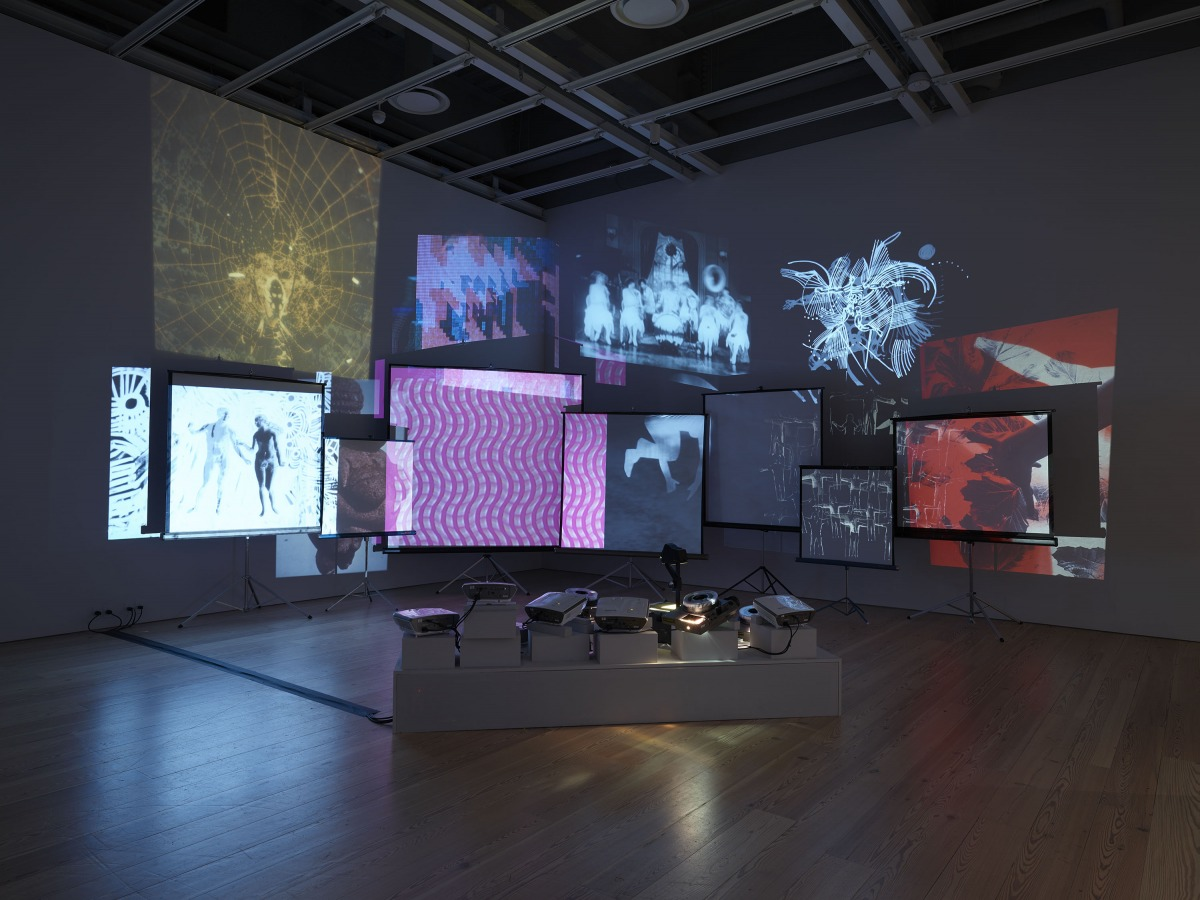 """Installation view of """"Dreamlands: Immersive Cinema and Art, 1905-2016"""" (Whitney Museum of American Art, New York, October 28, 2016-February 5, 2017). Stan VanDerBeek, Movie Mural, (1968) E.2016.1545. Photography by Ronald Amstutz."""