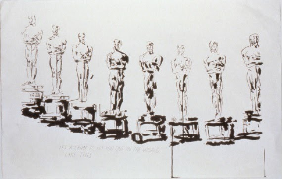 Raymond Pettibo, No Title (It's a crime…), ca. 2000 Pen and ink on paper, 64.5x101 Collection of Sam and Shanit Schwartz courtesy of Regen Projects, Los Angeles