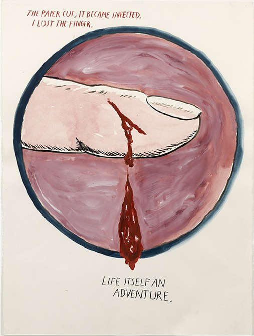 Raymond Pettibon, No Title (The paper cut...),  2004 Gouache and ink on paper, 76.2x56.8 Private collection courtesy of David Zwirner